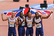 Great Britains 4x100m Relay winning team during the Sainsbury's Anniversary Games at the Queen Elizabeth II Olympic Park, London, United Kingdom on 25th July 2015. Photo by Ellie Hoad.
