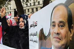 Downing Street, London, November 5th 2015. British Prime Minister David Cameron welcomes Egyptian President Abdel Fatah al-Sisi to 10 Downing Street as demonstrations in support and counter-protests against his visit to the UK by a coalition of human rights groups take place in Whitehall. PICTURED:  Pro Sis supporters welcome the Egyptian President to London. // Licencing Contact: paul@pauldaveycreative.co.uk Mobile 07966 016 296