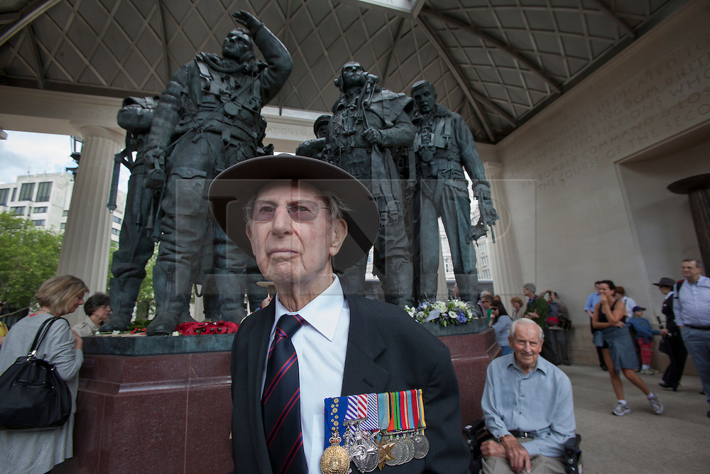 © licensed to London News Pictures. London, UK 30/06/2012. WWII Veteran Peter Isaacson, 91, from Melbourne visiting Bomber Command Memorial in Green Park in the name of 55,573 Bomber Command airmen who gave their lives in the Second World. The memorial was opened by the Queen earlier this week. Photo credit: Tolga Akmen/LNP