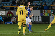 Eastleigh FC Striker James Constable scores a goal to make it 3-2 during the Vanarama National League match between Southport and Eastleigh at the Merseyrail Community Stadium, Southport, United Kingdom on 17 December 2016. Photo by Pete Burns.
