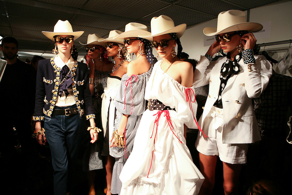 Milan, Italy, September 24, 2010. Backstage at Moschino during the Milan Women's Fashion Week Spring/Summer 2011.