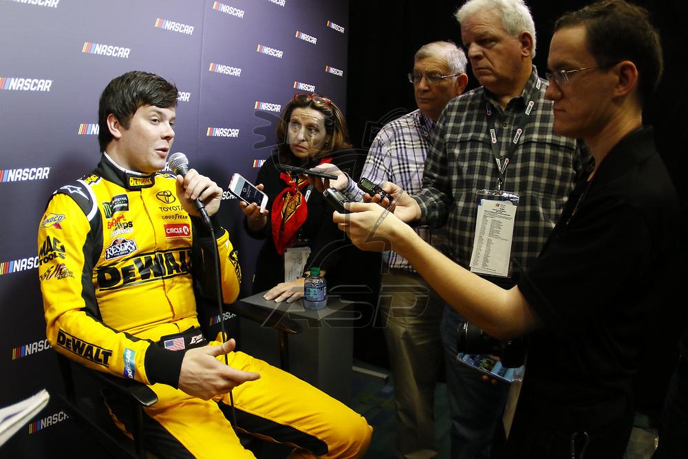 January 23, 2018 - Charlotte, North Carolina, USA: Erik Jones (20) meets with the media before the NASCAR Media Tour at Charlotte Convention Center in Charlotte, North Carolina.