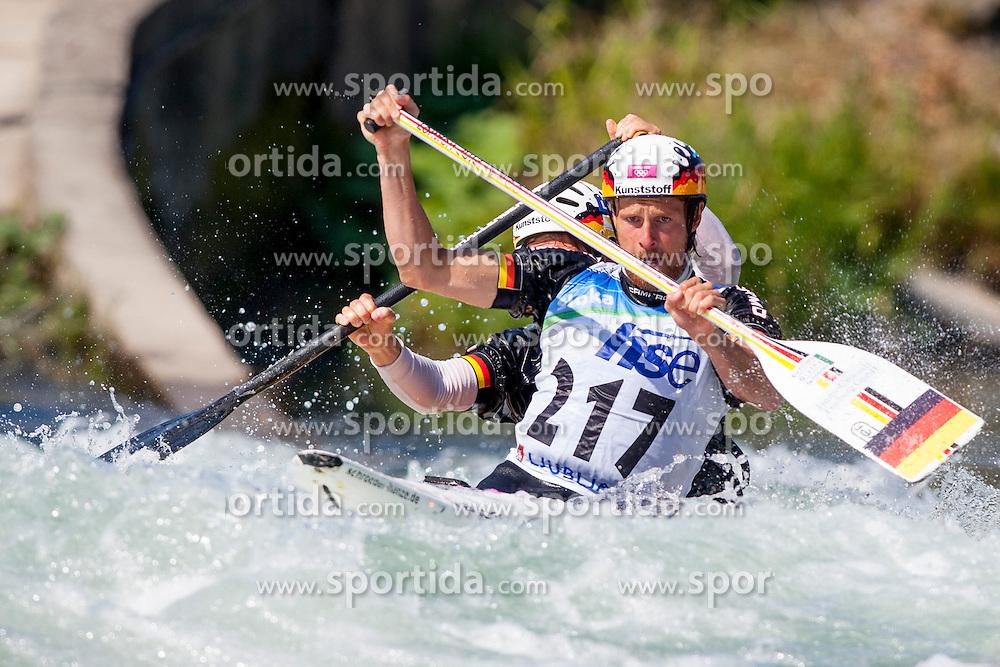 Frank Henze and David Schroeder of Germany during Canoe (C2) Man semi-final race at ICF Canoe Slalom World Cup Sloka 2013, on August 18, 2013, in Tacen, Ljubljana, Slovenia. (Photo by Urban Urbanc / Sportida.com)