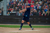 KELOWNA, CANADA - JUNE 28: Retired NHL player Wade Redden hits the ball during the opening charity game of the Home Base Slo-Pitch Tournament fundraiser for the Kelowna General Hospital Foundation JoeAnna's House on June 28, 2019 at Elk's Stadium in Kelowna, British Columbia, Canada.  (Photo by Marissa Baecker/Shoot the Breeze)