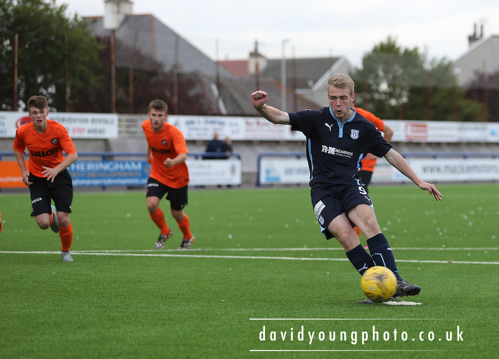 Josh Skelly fires Dundee ahead from the penalty spot - Dundee v Dundee United under 20s<br />
