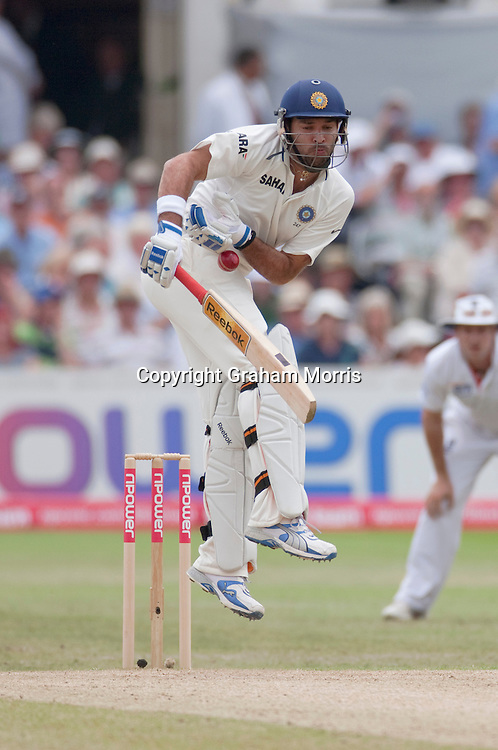 Yuvraj Singh is struck by a ball from Stuart Broad during the second npower Test Match between England and India at Trent Bridge, Nottingham.  Photo: Graham Morris (Tel: +44(0)20 8969 4192 Email: sales@cricketpix.com) 01/08/11