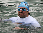 Former All Black and North Harbour rugby captain Richard Turner takes part in a 'mini ocean swim' during the media launch for the Sovereign NZ National Ocean Swim Series held aboard the Ocean Eagle at the Viaduct in Auckland, New Zealand on Tuesday 3 October, 2006. Photo: Tim Hales/PHOTOSPORT