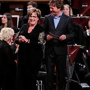 NLD/Haarlem/20121002- Opname AVRO's programma Maestro, presentator Frits Sissing en Catherine Keyl