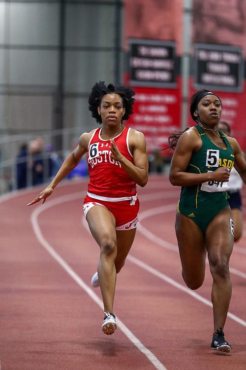 womens 200 meters, BU, Adesanya, Ayodele<br /> Boston University Scarlet and White<br /> Indoor Track & Field, Bruce LeHane