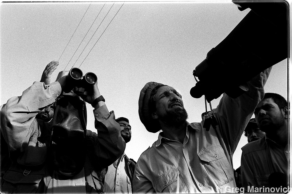 The last of the great mujehadin warlord commanders Ahmed Shah Massoud conducts the start of an offensives in Charikar, Afghanistan. (Greg Marinovich)