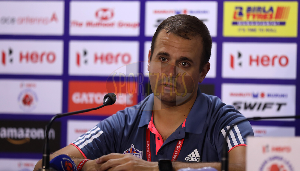 Assistant coach Minguel during the press conference after the  match 8 of the Indian Super League (ISL) season 3 between FC Goa and FC Pune City held at the Fatorda Stadium in Goa, India on the 8th October 2016.<br /> <br /> Photo by Sandeep Shetty / ISL/ SPORTZPICS
