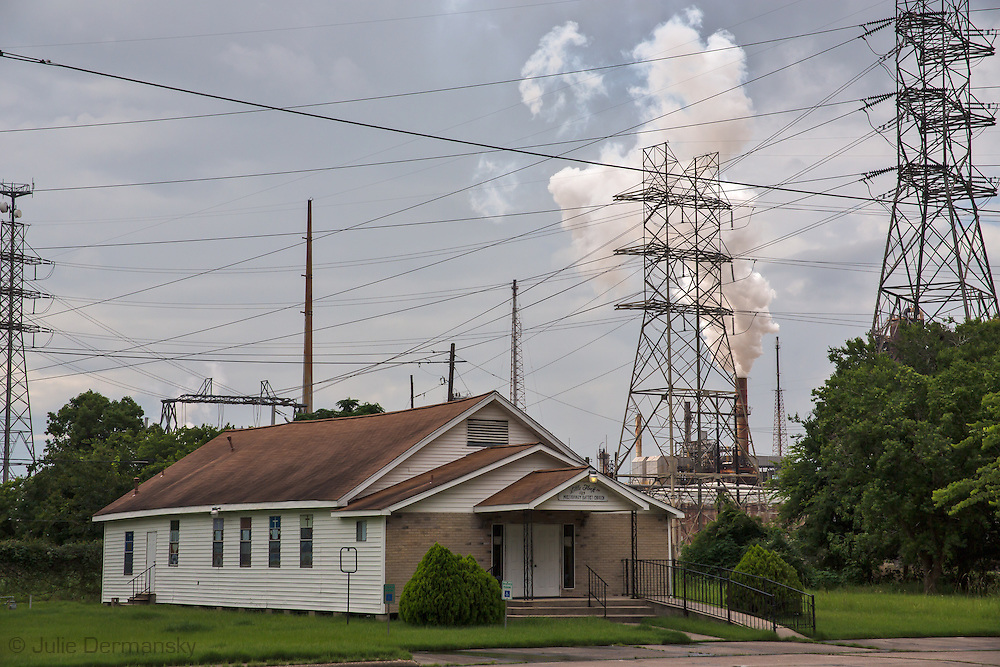 Church in a fence-line community next to ExxonMobil's Baytown Refinery, in Bayotown Texas is Exxon's largerst refinery in the United States.