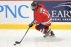 PITTSBURGH, PA - OCTOBER 14:  Jaycee Gebhard #17 of the Robert Morris Colonials skates with the puck in the first period during the game against the Vermont Catamounts at 84 Lumber Arena on October 14, 2016 in Pittsburgh, Pennsylvania. (Photo by Justin Berl)