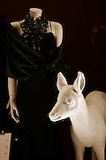 Vitrine de noël d'un magasin de mode avec poupé et chevreuil. Weihnachtsschaufenster mit Reh und Plastikpuppe eines Kleiderladens. © Romano P. Riedo