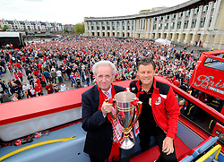 Bristol City manager, Steve Cotterill and Chairman Keith Dawe hold the Sky Bet League one Trophy on the bus,  in front of thousands of fans gathered at the amphitheatre in Bristol  - Photo mandatory by-line: Joe Meredith/JMP - Mobile: 07966 386802 - 04/05/2015 - SPORT - Football - Bristol -  - Bristol City Celebration Tour