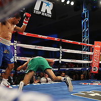 ORLANDO, FL - OCTOBER 04:  Felix Verdejo of Puerto Rico (L) knocks out Sergio Villanueva of Mexico in the third round of their professional lightweight boxing match at the Bahía Shriners Auditorium & Events Center on October 4, 2014 in Orlando, Florida. (Photo by Alex Menendez/Getty Images) *** Local Caption *** Felix Verdejo; Sergio Villanueva