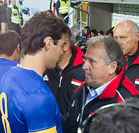 Malmö  2012-10-11  Fotboll  Landskamp  Brazil    - Iraq   :  Brazil 8 Kaka and Iraqs coach Ziko befor match.(Foto: Christer Thorell, Pic-Agency.com) Nyckelord : fotboll , football , soccer , Landskamp , Herrar , Men , Brazil , Iraq , .
