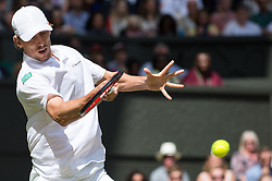 LONDON, ENGLAND - Saturday, July 2, 2016:  John Millman (AUS)  during the Gentlemen's Single 3rd Round match on day six of the Wimbledon Lawn Tennis Championships at the All England Lawn Tennis and Croquet Club. (Pic by Kirsten Holst/Propaganda)