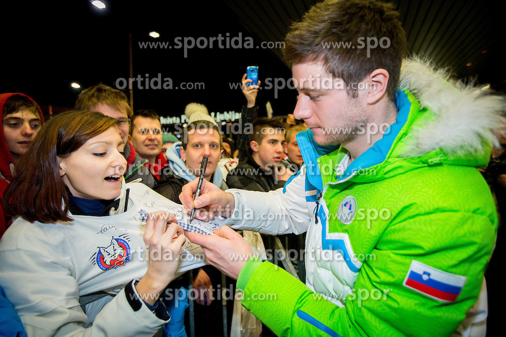 Jan Urbas, ice hockey player at reception of Slovenia team arrived from Winter Olympic Games Sochi 2014 on February 19, 2014 at Airport Joze Pucnik, Brnik, Slovenia. Photo by Vid Ponikvar / Sportida