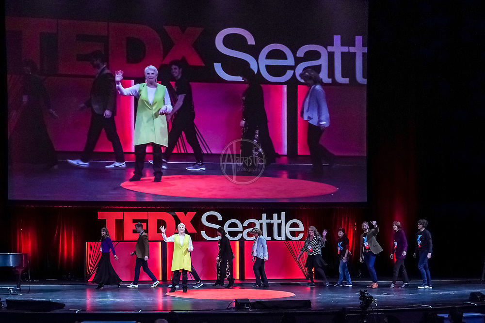 TEDx Seattle 2018.  Elizabeth Coppinger (TedX Executive Director) and the Tall Order speakers. Photo by Alabastro Photography.