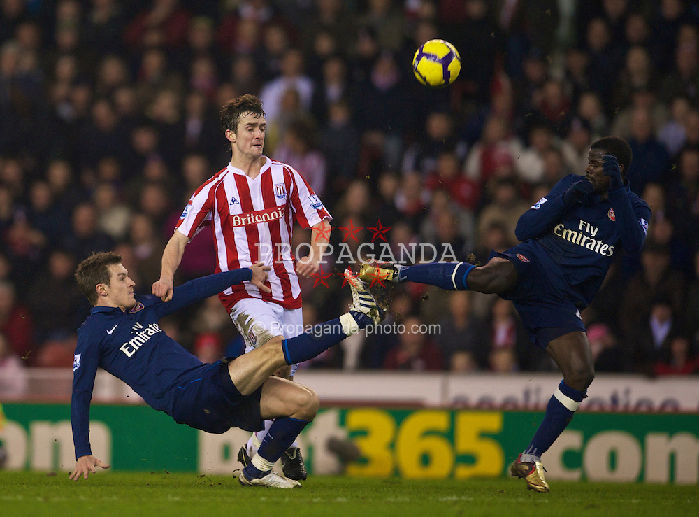STOKE-ON-TRENT, ENGLAND - Saturday, February 27, 2010: Arsenal's Aaron Ramsey in action against Stoke City during the FA Premier League match at the Britannia Stadium. (Photo by David Rawcliffe/Propaganda)