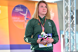 Noelle Lenihan, IRE with her Gold Medal in the F38 Discus at the Berlin 2018 World Para Athletics European Championships