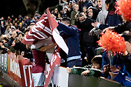 SYDNEY, AUSTRALIA - AUGUST 21: Tigers fans celebrate the win at the FFA Cup Round 16 soccer match between APIA Leichhardt Tigers FC and Melbourne Victory at Leichhardt Oval in Sydney on August 21, 2018. (Photo by Speed Media/Icon Sportswire)