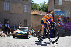 Megan Guarnier (USA) of Boels-Dolmans Cycling Team rides near the top of the final climb of Stage 5 of the Giro Rosa - a 12.7 km individual time trial, starting and finishing in Sant'Elpido A Mare on July 4, 2017, in Fermo, Italy. (Photo by Balint Hamvas/Velofocus.com)