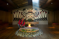 First Nations artist Richard Krentz in his longhouse near the Oyster River.  Black Creek, Vancouver Island, British Columbia, Canada.