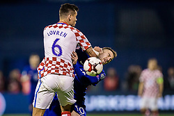 Dejan Lovren of Croatia and Kostas Fortounis of Greece during the football match between National teams of Croatia and Greece in First leg of Playoff Round of European Qualifiers for the FIFA World Cup Russia 2018, on November 9, 2017 in Stadion Maksimir, Zagreb, Croatia. Photo by Ziga Zupan / Sportida