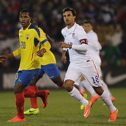 Chris Wondolowski, (right), USA, in action during the USA Vs Ecuador International match at Rentschler Field, Hartford, Connecticut. USA. 10th October 2014. Photo Tim Clayton