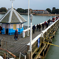 People disembarking from Paddle Steamer Waverley. Yarmouth Pier, Isle of Wight, England, UK