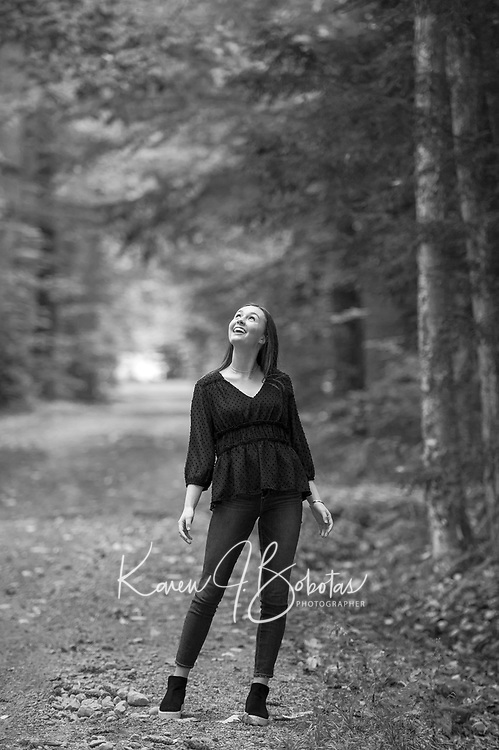 Kathryn G senior portrait session at Gunstock.  ©2018 Karen Bobotas Photographer