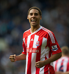WEST BROMWICH, ENGLAND - Sunday, August 28, 2011: Stoke City's Ryan Shotton celebrates scoring the winning goal against West Bromwich Albion during the Premiership match at the Hawthorns. (Pic by David Rawcliffe/Propaganda)