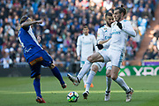 Real Madrid's Welsh forward Gareth Bal and French forward Karim Benzema battles with Alexis of Alaves during the Spanish championship Liga football match between Real Madrid and Alaves on february 24, 2018 at Santiago Bernabeu Stadium in Madrid, Spain - Photo Rudy / Spain ProSportsImages / DPPI / ProSportsImages / DPPI