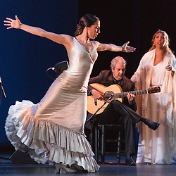 """© Licensed to London News Pictures. 28/02/2016. London, UK. L-R: Ana Morales, Miguel Angel Cortes and Esperanza Fernandez. Esperanza Fernandez """"De lo Jondo y Verdadero"""" performance at Sadler's Wells Theatre during the Flamenco Festival London 2016. With Singer Esperanza Fernandez, Dancer Ana Morales, Singer Marina Heredia and Guitarist Miguel Angel Cortes. Photo credit: Bettina Strenske/LNP"""