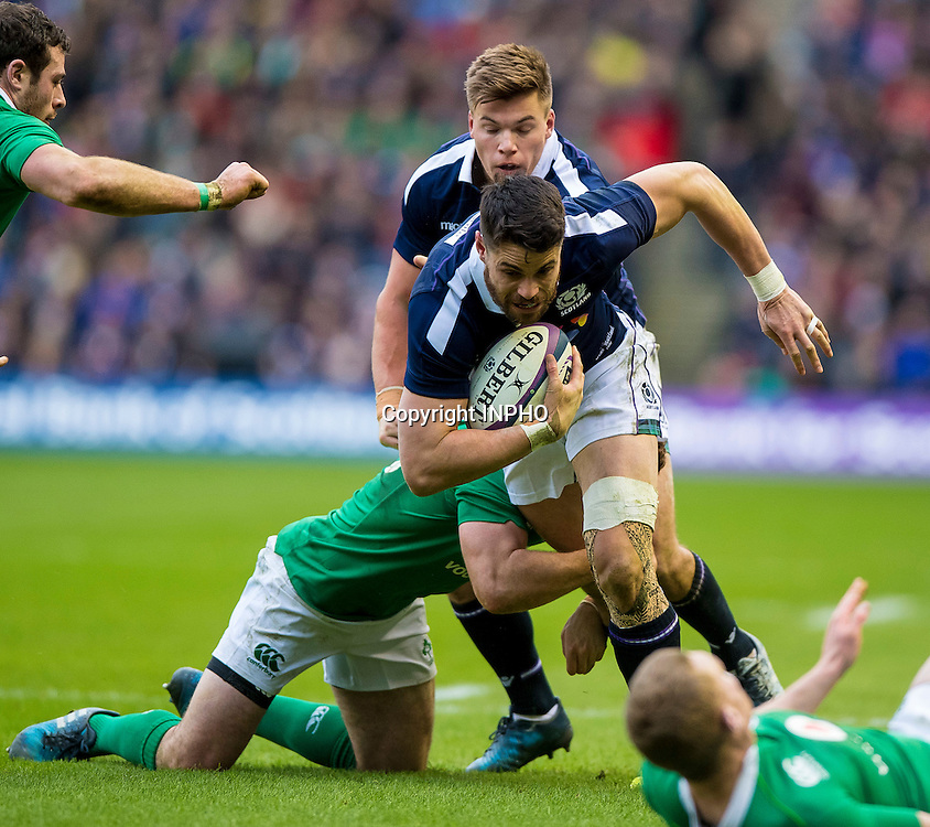 RBS 6 Nations Championship Round 1, BT Murrayfield, Scotland 4/2/2017<br /> Scotland vs Ireland<br /> Paddy Jackson of Ireland tackles Sean Maitland of Scotland  <br /> Mandatory Credit &copy;INPHO/Craig Watson