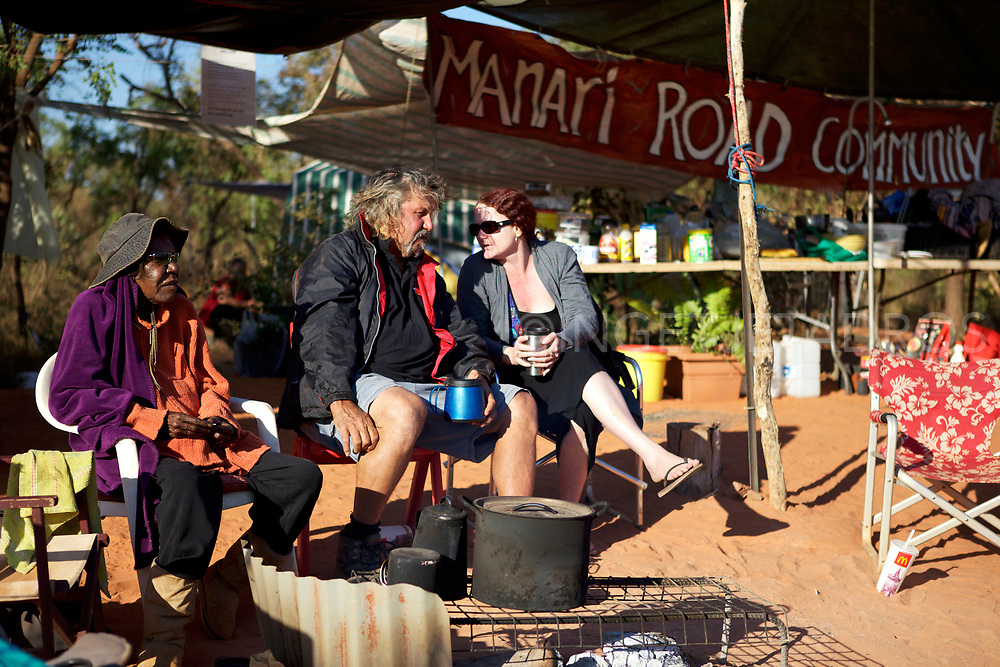 Early morning tea, on the 100th day of the No Gas Protest at the Manari Road Community Camp on the access track to Woodside's compound. Broome, WA
