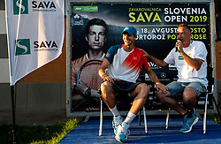 Blaz Rola of Slovenia and Gasper Bolhar in players corner  after winning in 3rd Round of ATP Challenger Zavarovalnica Sava Slovenia Open 2019, day 7, on August 15, 2019 in Sports centre, Portoroz/Portorose, Slovenia. Photo by Matic Klansek Velej  / Sportida