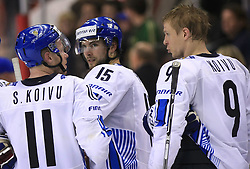 Saku Koivu, Tuomo Ruutu and Mikko Koivu of Finland after ice-hockey match Finland vs USA at Qualifying round Group F of IIHF WC 2008 in Halifax, on May 11, 2008 in Metro Center, Halifax, Nova Scotia, Canada. (Photo by Vid Ponikvar / Sportal Images)