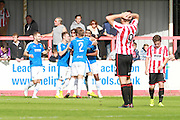 Dover's 2nd goal celebration during the Vanarama National League match between Cheltenham Town and Dover Athletic at Whaddon Road, Cheltenham, England on 12 September 2015. Photo by Antony Thompson.