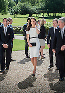 The Duchess of Cambridge attended a breakfast reception at The National Maritime Museum in Greenwich. The Duchess met supporters of the bid to launch a British Team for the America's Cup, headed by Sir Ben Ainslie. The Duchess met crew and boat designers before viewing an America's Cup class boat at the museum.<br /> <br /> Picture shows Duchess of Cambridge arriving at the National Maritime Museum and being greeted by Ben Ainslie.<br /> <br /> Credit: Lloyd Images<br /> Rights free for editorial use.