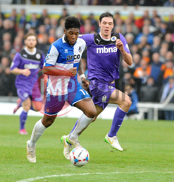Bristol Rovers' Ellis Harrison is challenged by Chester's Ben Heneghan - Photo mandatory by-line: Neil Brookman/JMP - Mobile: 07966 386802 - 03/04/2015 - SPORT - Football - Bristol - Memorial Stadium - Bristol Rovers v Chester - Vanarama Football Conference