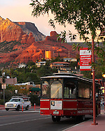 A trolley car at sunset, in downtown Sedona