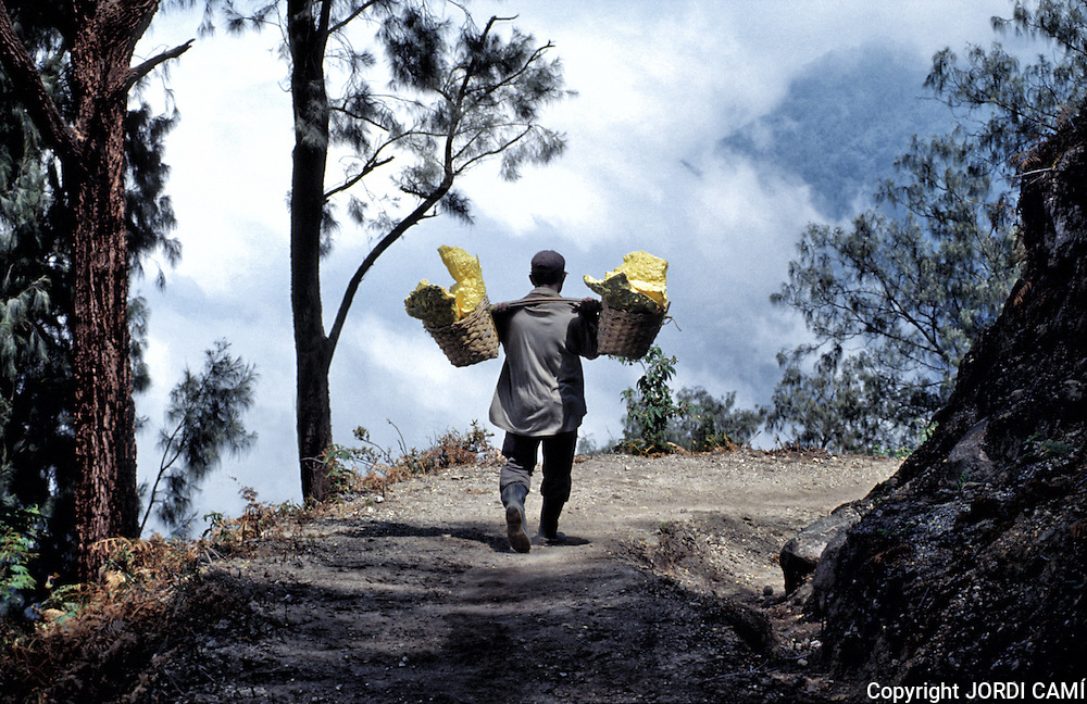 Miner with heavy load of yellow elemental sulphur collected from within the active crater of Volcano Kawa Ijen. Eastern Java, Indonesia