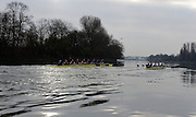 LONDON, ENGLAND - Thursday  13/12/2012 : Oxford University crews [L] Hurricane and [R] Spitfire racing during for the annual Varsity trial 8's for The BNY Melon University Boat Race over the Championship Course [Putney to Mortlake]. The River Thames, England. (Mandatory Credit/ Peter  Spurrier/Intersport Images)