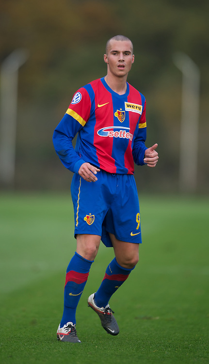 LONDON, ENGLAND - Wednesday, November 23, 2011: FC Basel 1893's Stefan Colovic in action against Tottenham Hotspur during the NextGen Series Group 4 match at the Spurs Lodge. (Pic by David Rawcliffe/Propaganda)