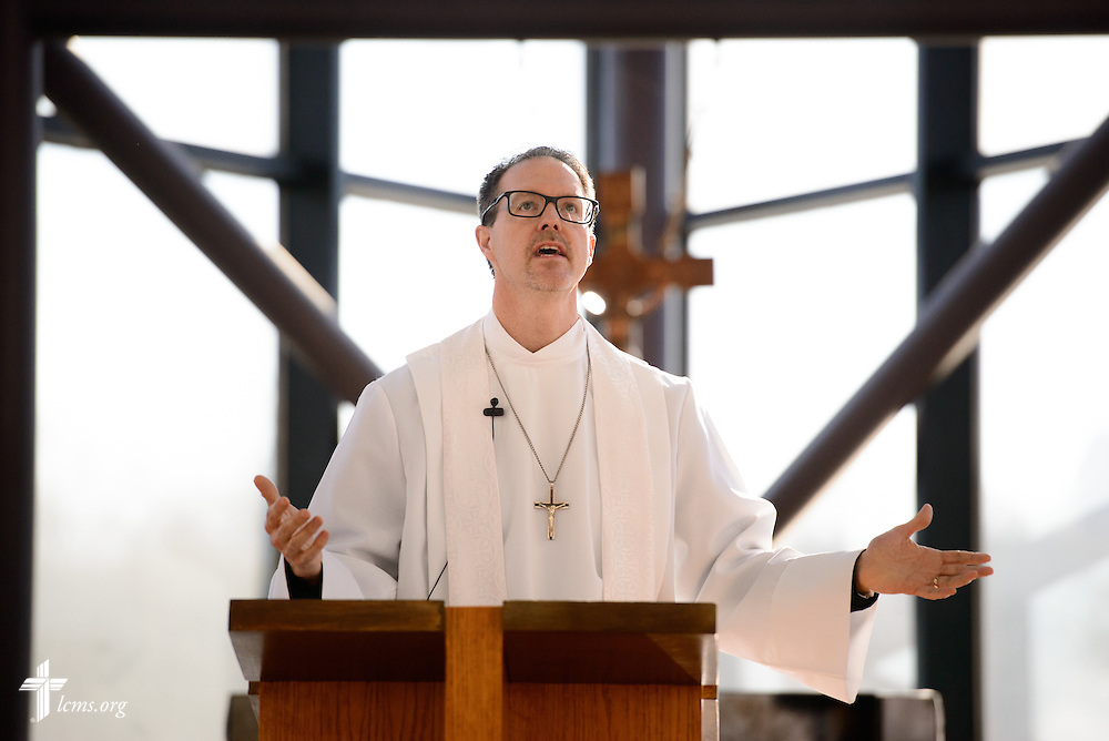 The Rev. Steve Schave, director of LCMS Urban & Inner-City Mission (UICM) and director of LCMS Church Planting, preaches during a Service of Sending for new national missionaries at the International Center chapel of The Lutheran Church–Missouri Synod on Tuesday, Jan. 12, 2016, in Kirkwood, Mo. LCMS Communications/Erik M. Lunsford