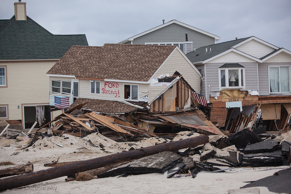 November 18, Ortley, NJ, Beach front homes destroyed by Superstorm Sandy's surge. Hurricane Sandy hit the Jersey Shore as a tropical storm causing billions of dollars of damage and cutting electricity to hundreds of thousands. Extreme weather is being blamed on climate change by many scientist.