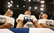 "Front row fans sport ""Chicago to Provo"" t-shirts encouraging high school phenom Jabari Parker to attend BYU next year, Saturday, Nov. 24, 2012."
